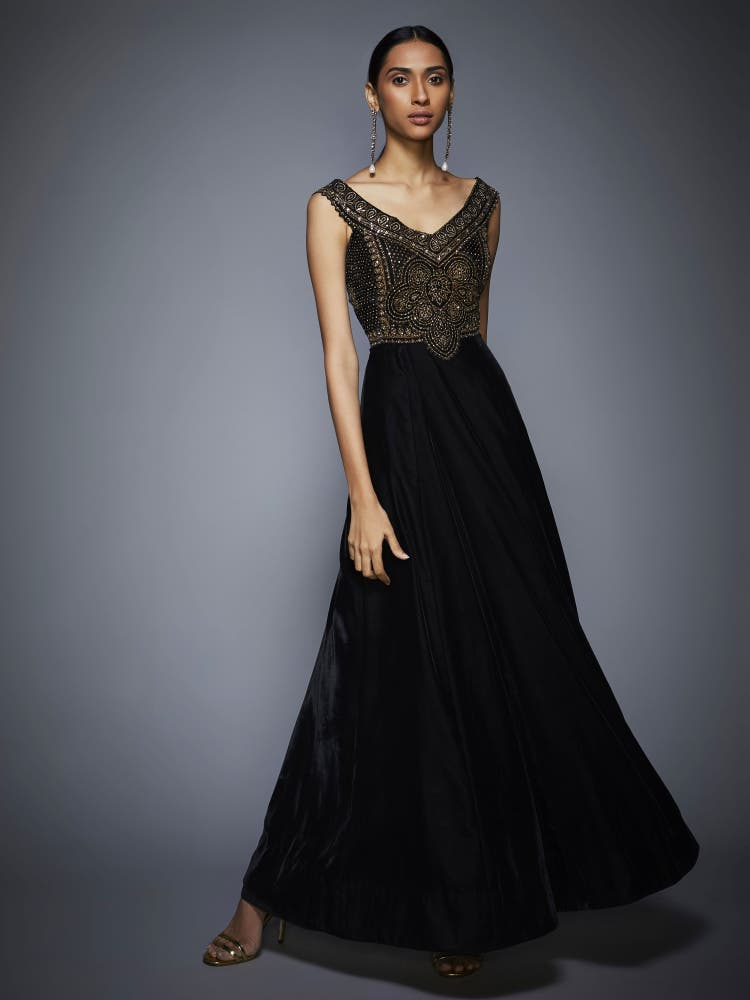 Black & Gold Embroidered Gown