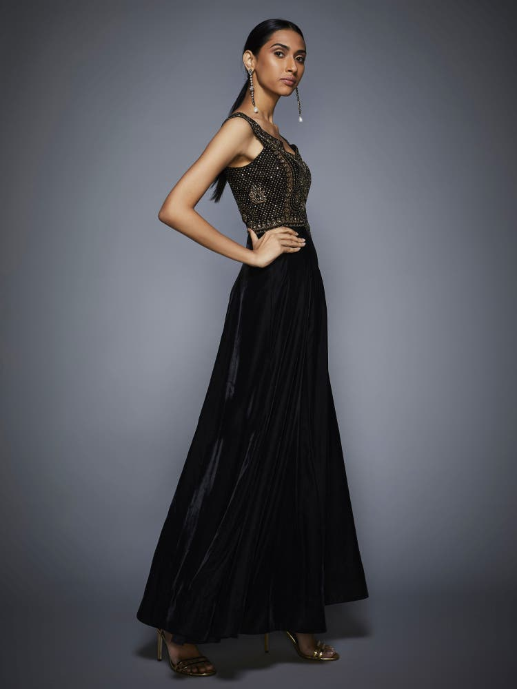 Black & Gold Rivi Embroidered Gown