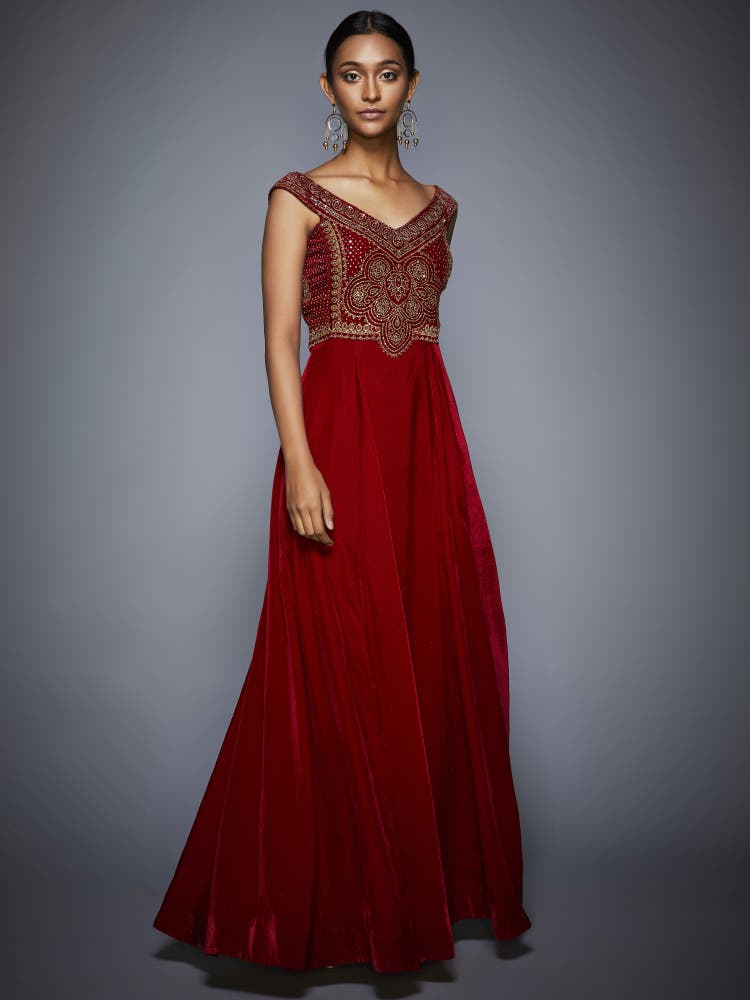 Burgundy & Gold Embroidered Gown