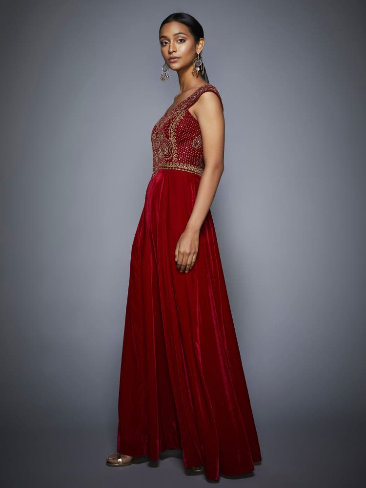 Burgundy & Gold Rivi Embroidered Gown