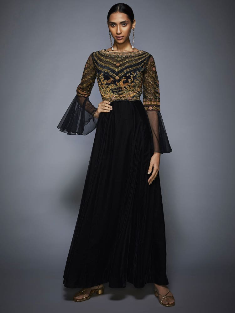 Black & Olive Green Jasveera Velvet Gown