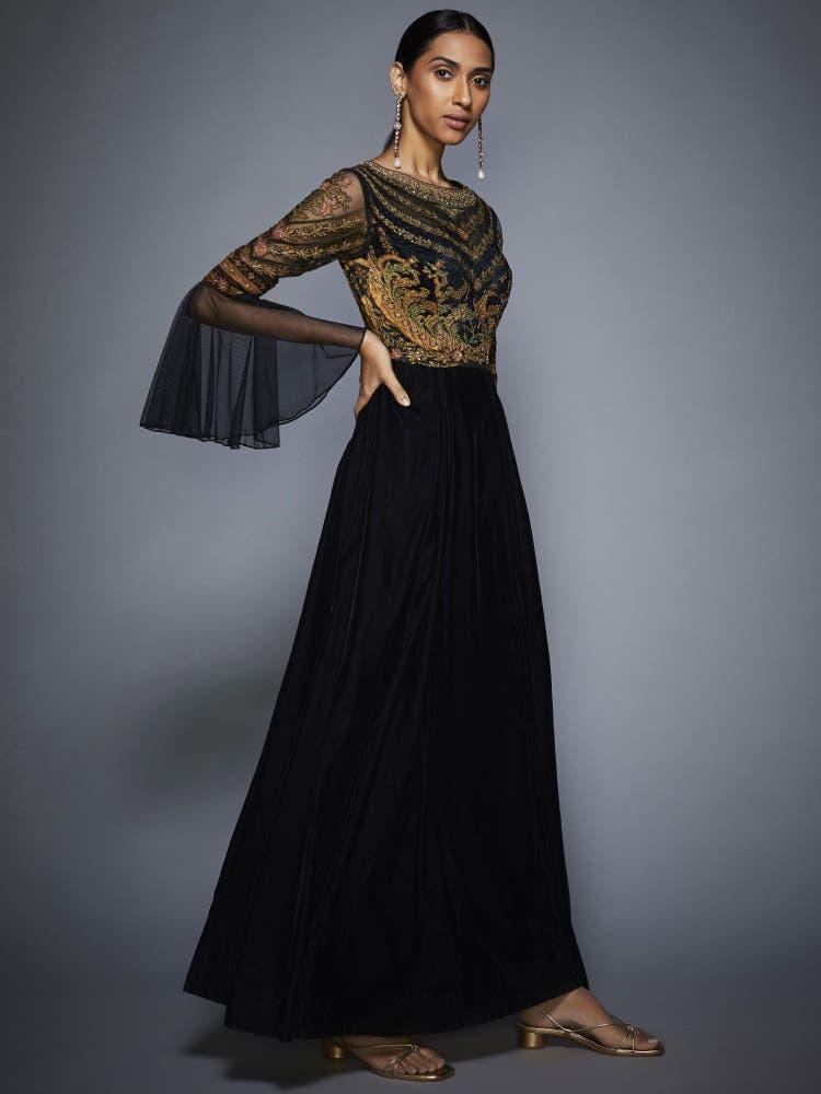 Black & Olive Green Velvet Gown