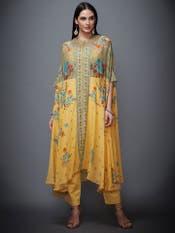 Yellow & Turquoise Marvia Jacket Ensemble