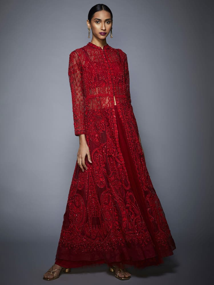 Red Embroidered Ensemble