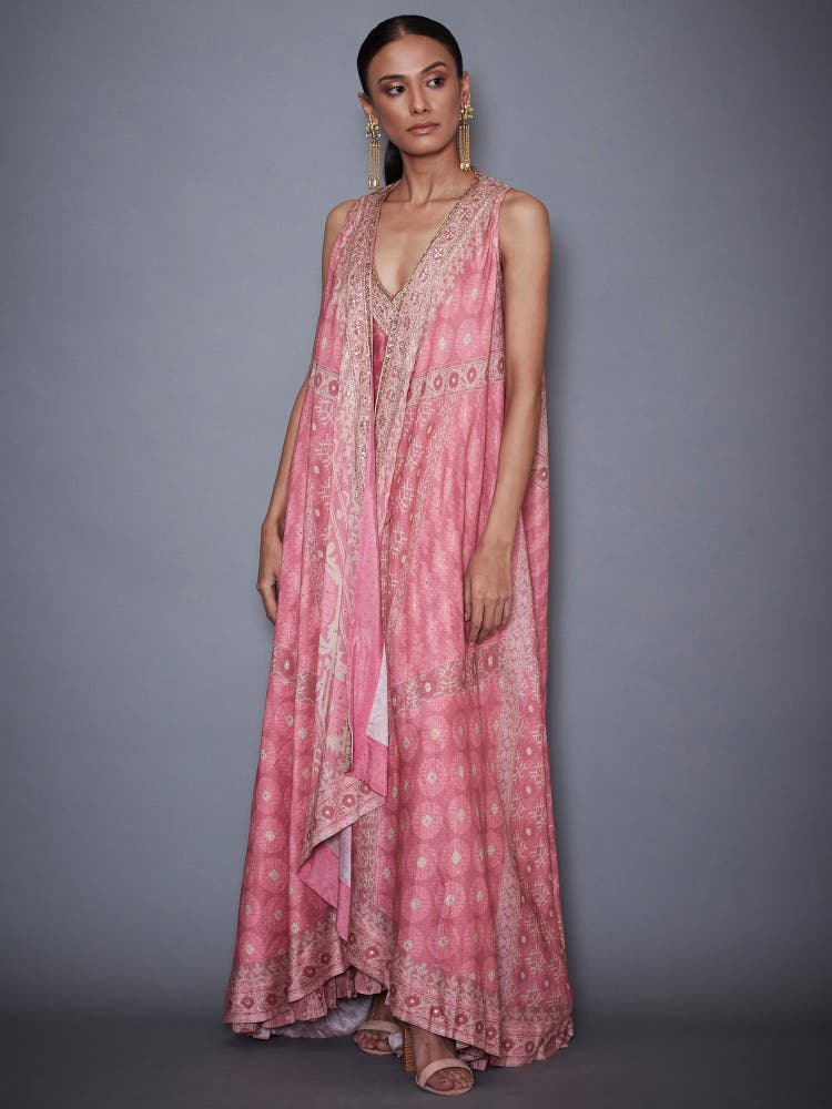 Pastel Pink Jamdani Dress With Jacket