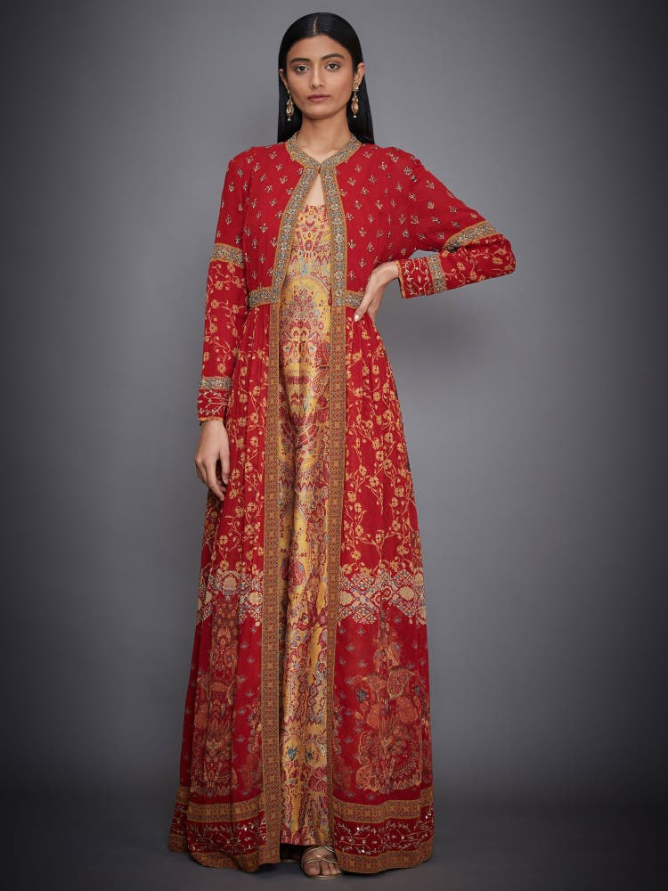 Red & Mustard Embroidered Dress With Jacket