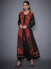 Black Madhu Embroidered Dress With Jacket