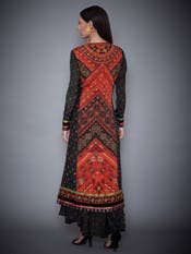 Black Embroidered Dress With Jacket