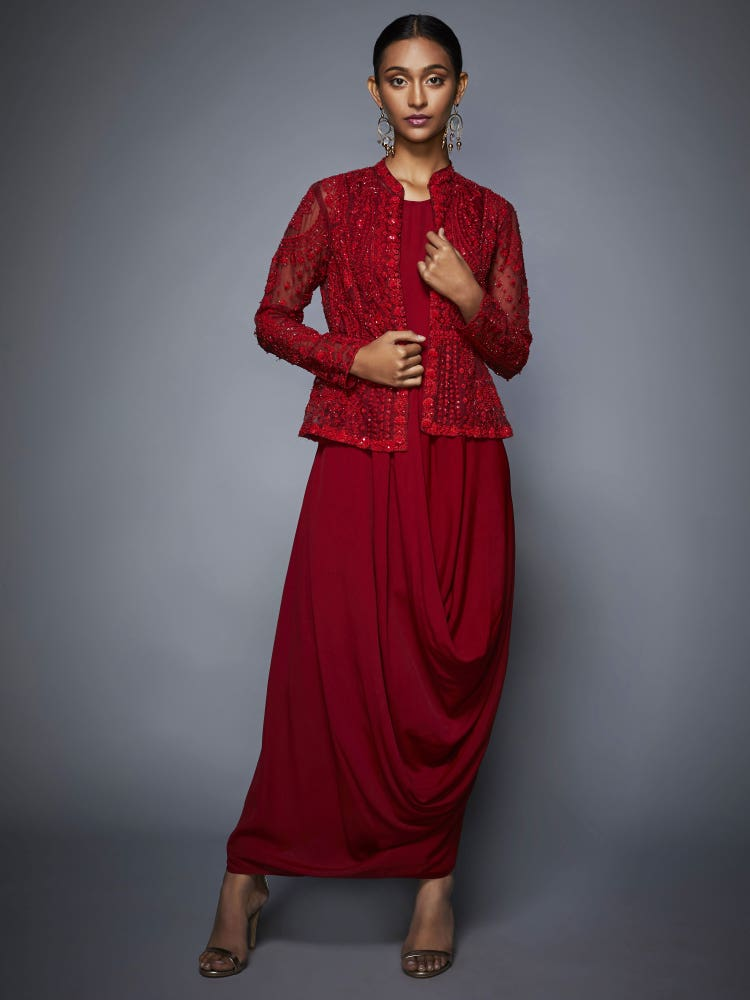Red Madame Scarlet Cowl Dress With Jacket