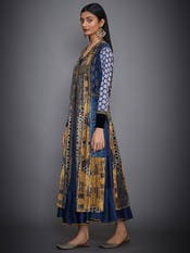 Navy Blue & Ochre Embroidered Dress With Jacket
