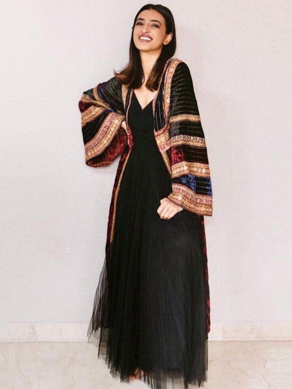 Radhika Apte In A Burgundy & Black Noorie Dress With Embroidered Jacket