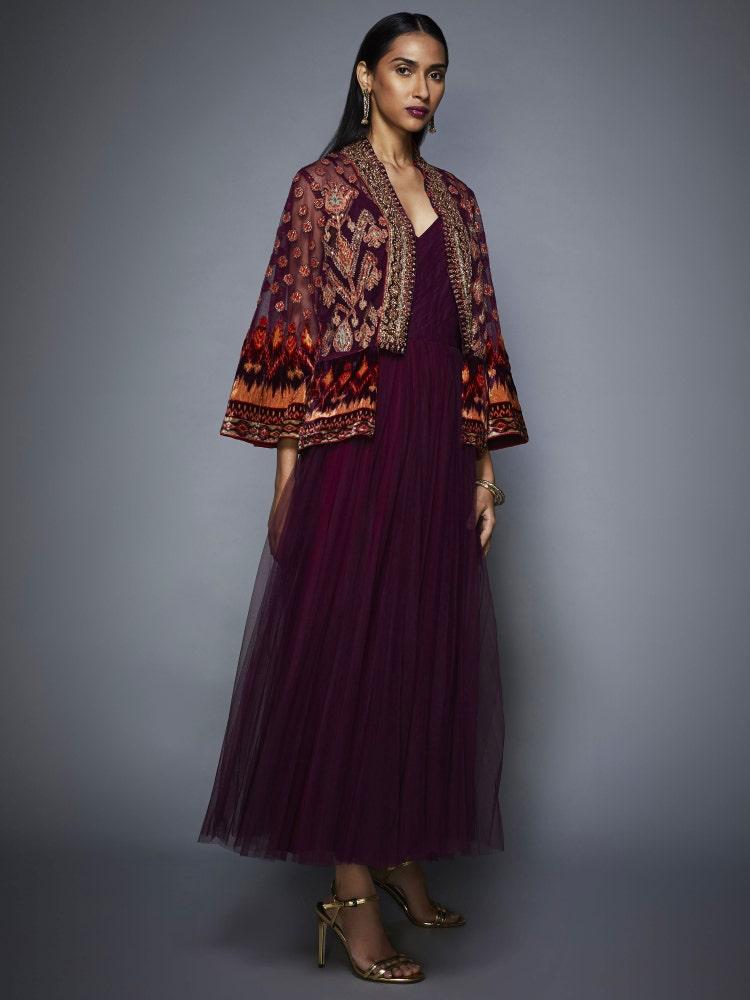 Prune Mohi Velvet Dress With Embroidered Jacket