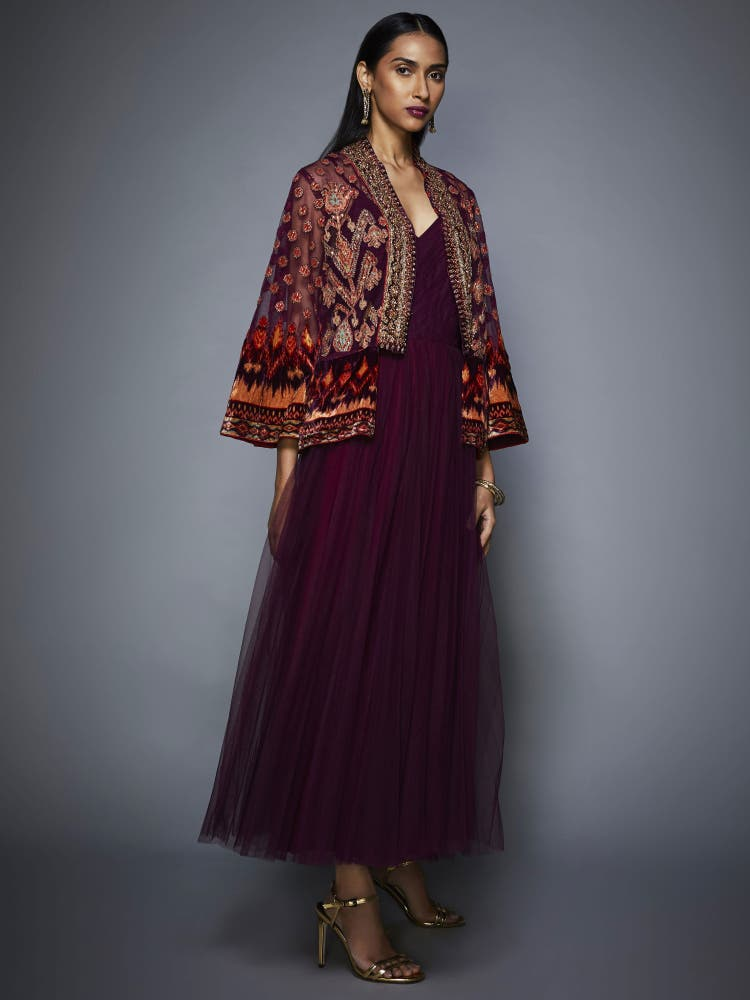 Prune Mohi Velvet Dress With Embroidered Jacket