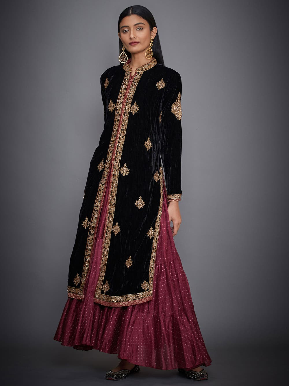 Black & Burgundy Embroidered Dress With Jacket
