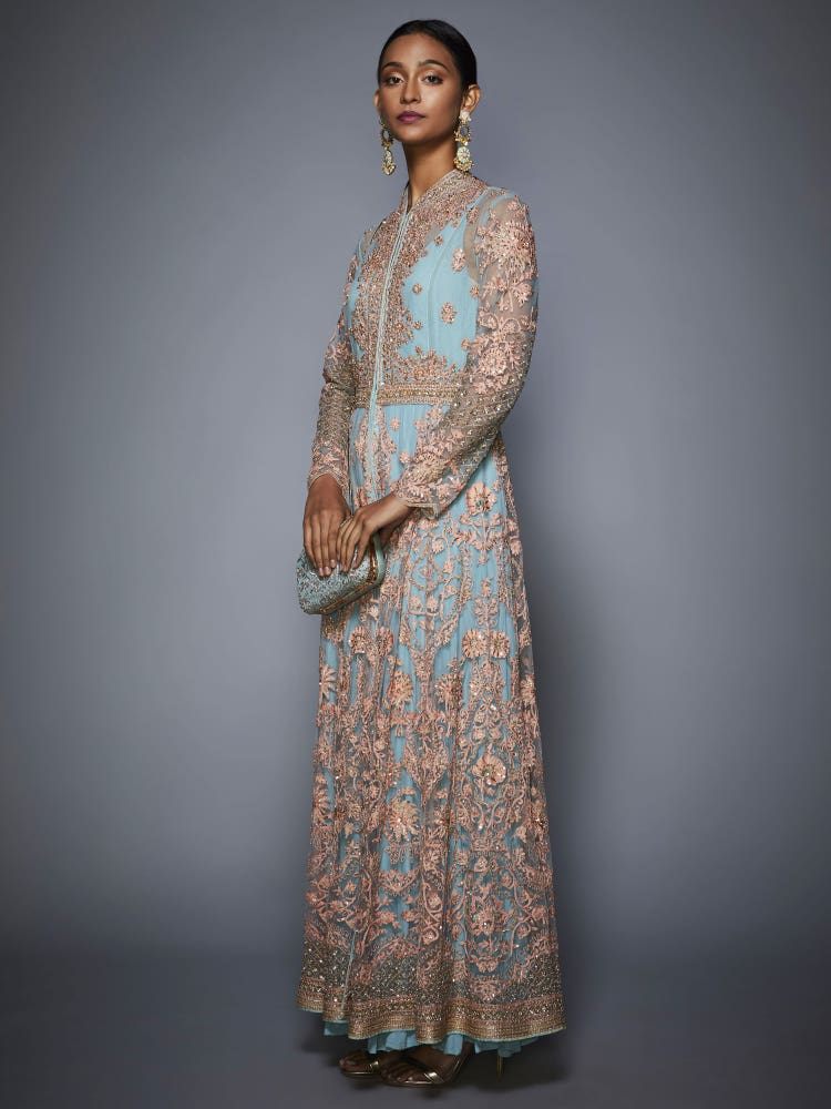 Powder Blue Rutvi Dress With Embroidered Jacket