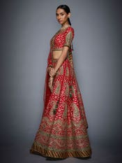 Red & Olive Flying Carpet Embroidered Lehenga Set