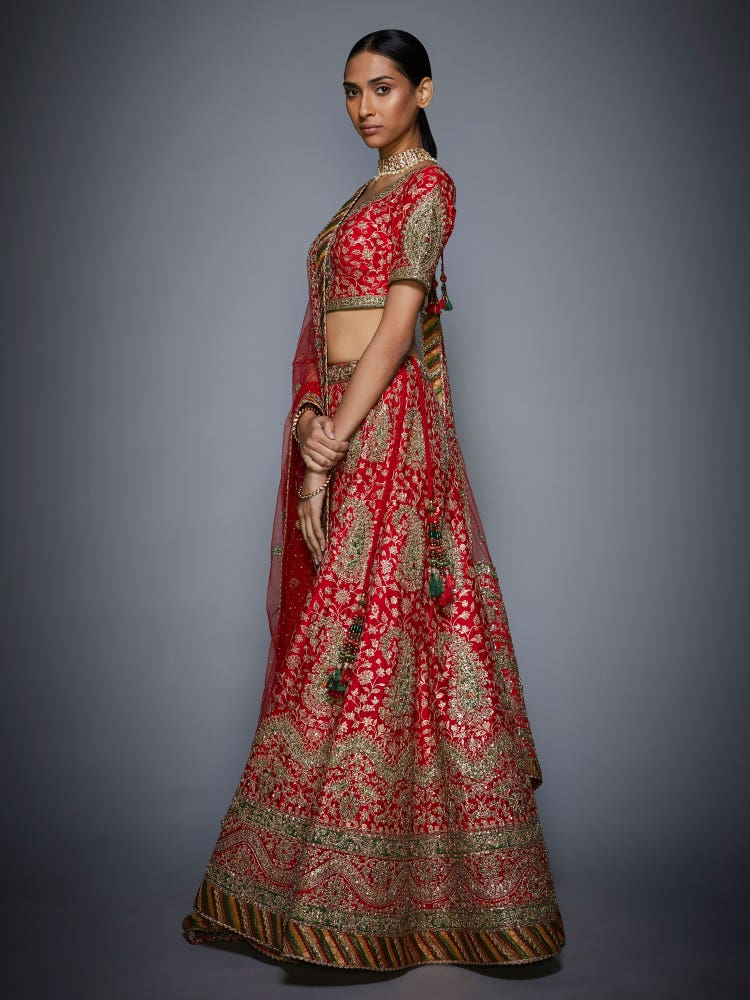 Red & Olive Floral Paisley Embroidered Lehenga Set