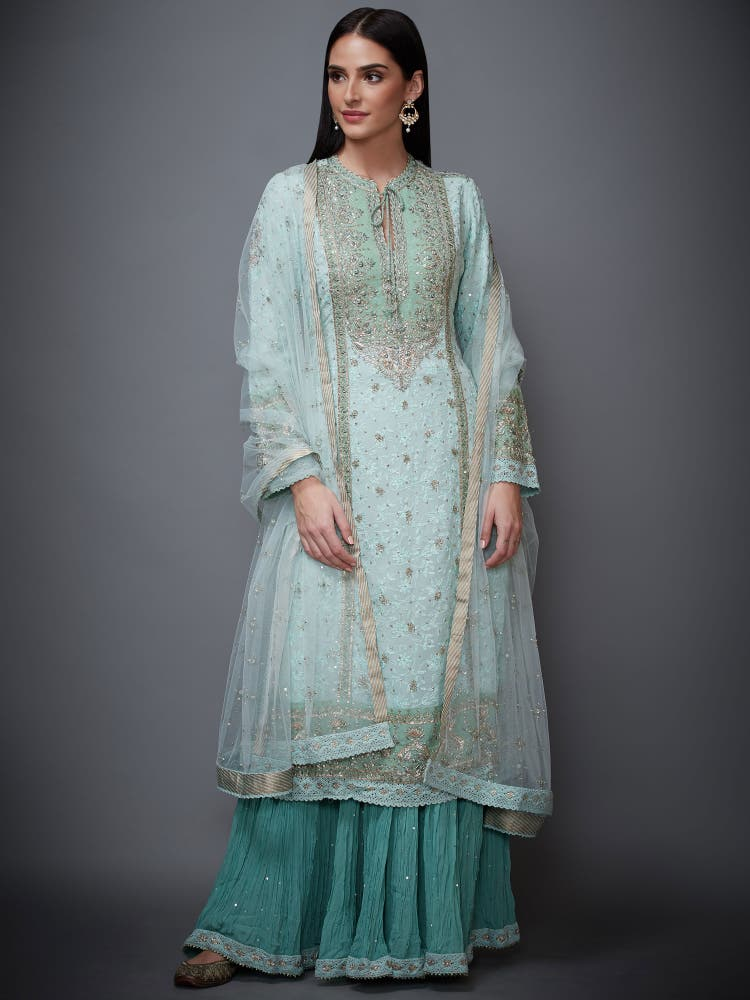 Aqua Embroidered Suit Set