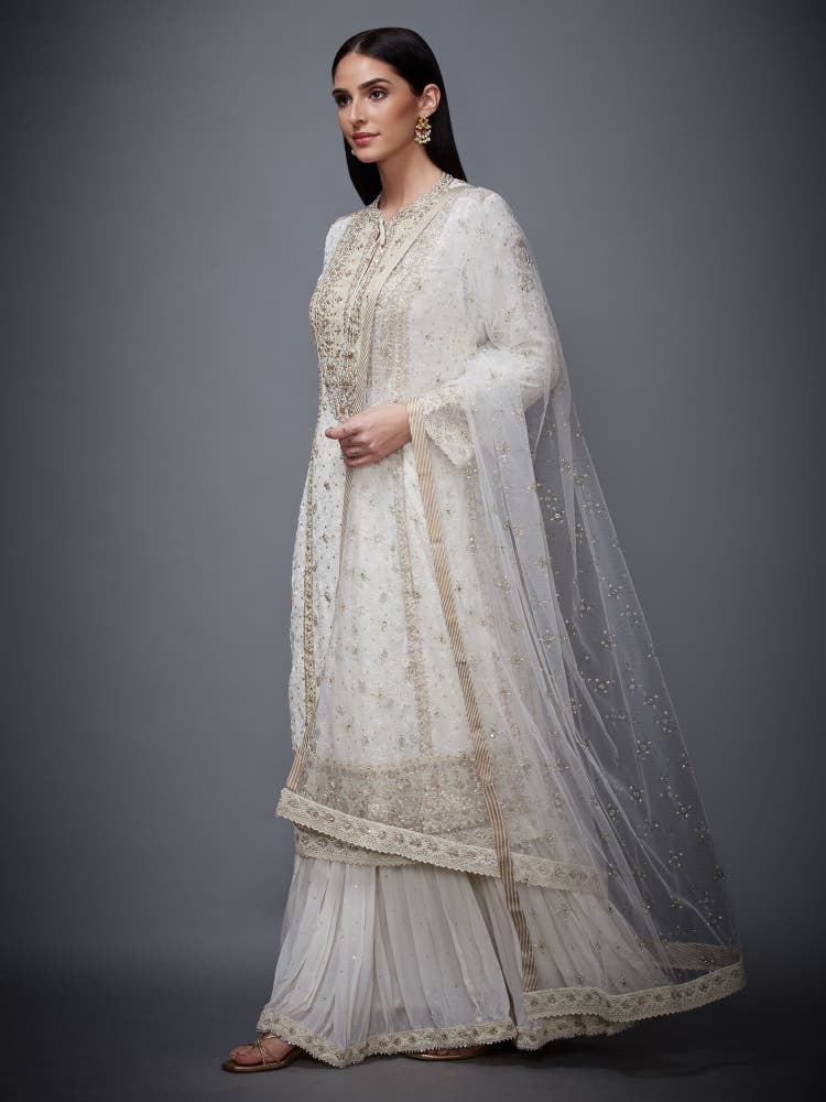 Ecru Embroidered Kurta With Skirt And Dupatta