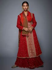 Red &Saffron Embroidered Suit Set