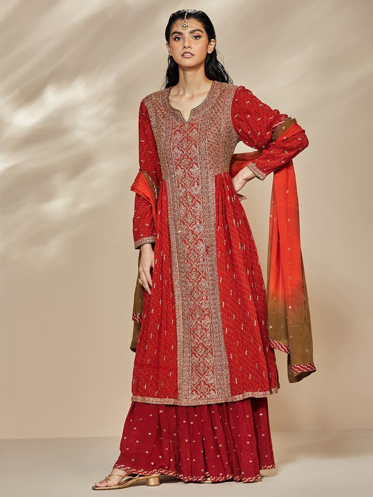 Red & Saffron Kalahasthi Embroidered Suit Set