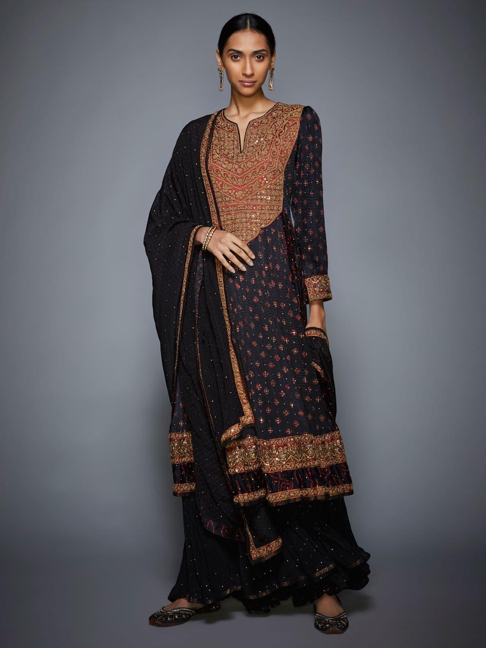 Black & Burgundy Embroidered Suit Set