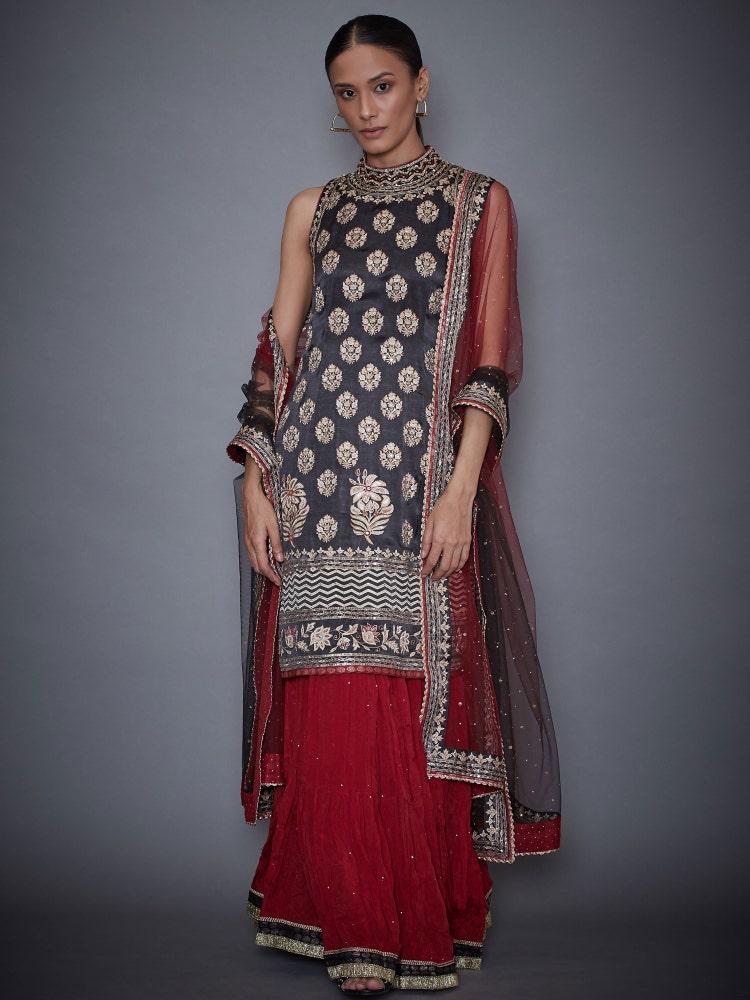 Black & Burgundy Agora Jasmine Geometric Kurta With Skirt & Dupatta