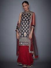 Black & Burgundy Geometric Kurta With Skirt & Dupatta