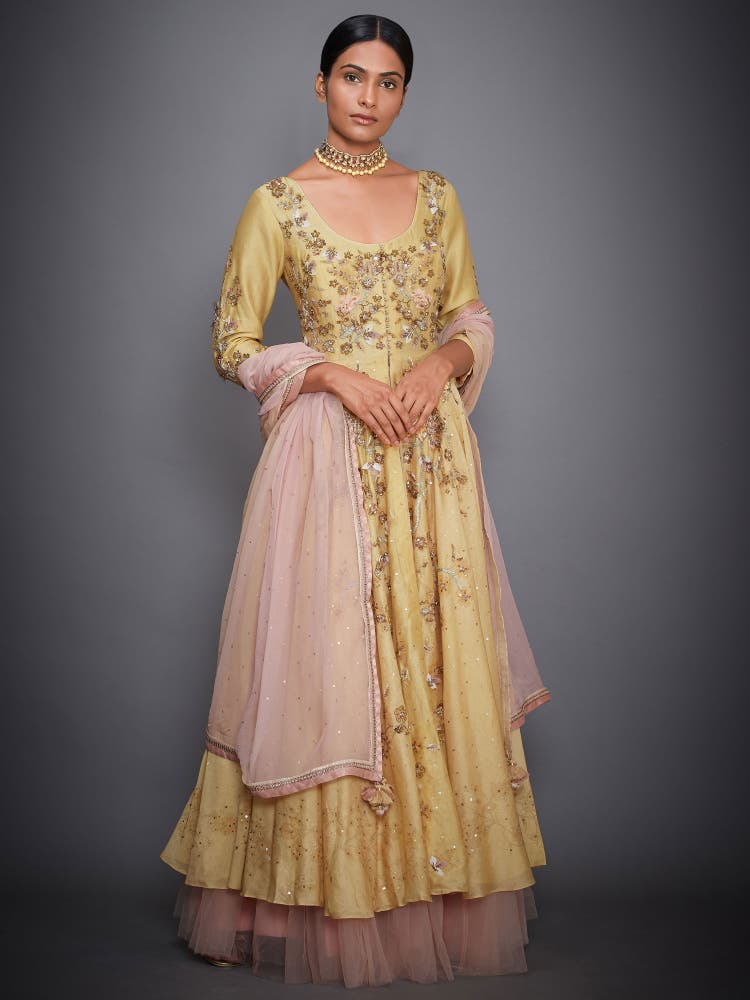 Ochre Yellow & Pink Embroidered Suit Set