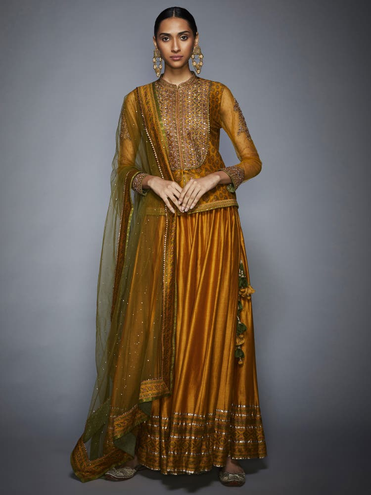 Mustard & Olive Green Embroidered Ensemble