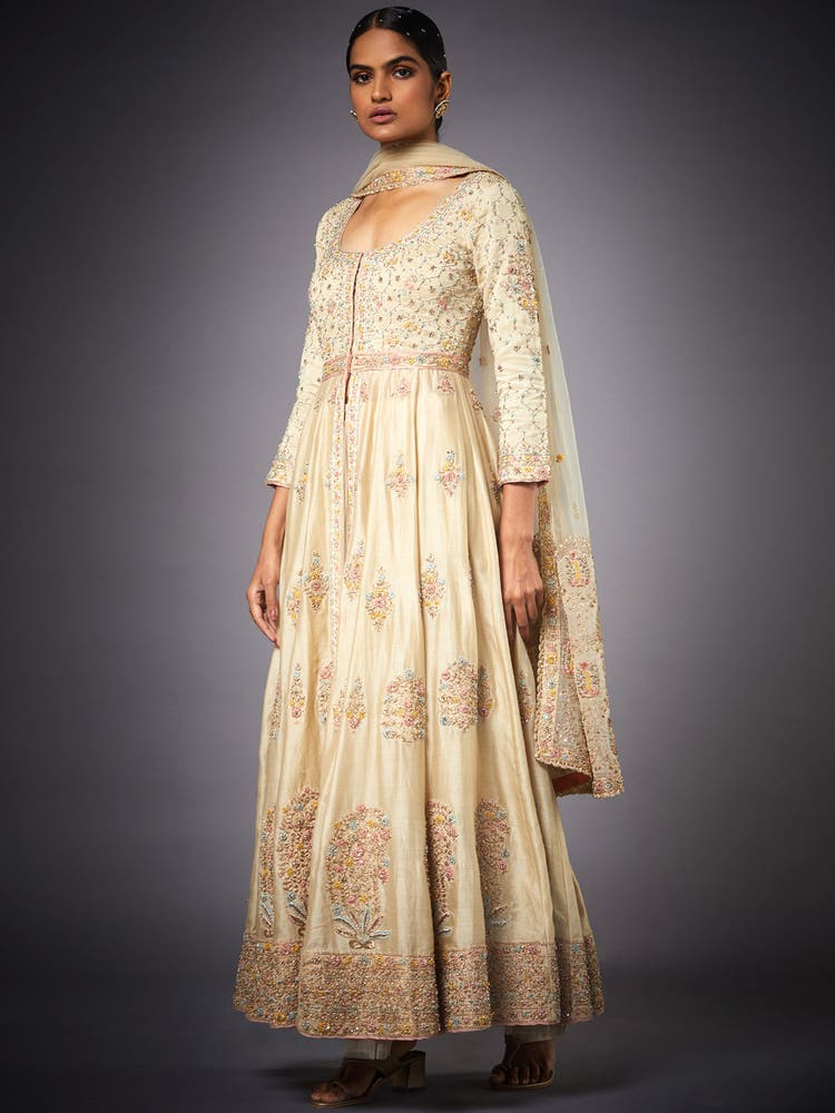 Beige Embroidered Begum Suit Set