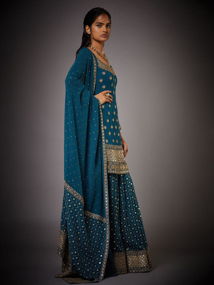 Deep Teal Yamini Embroidered Suit Set