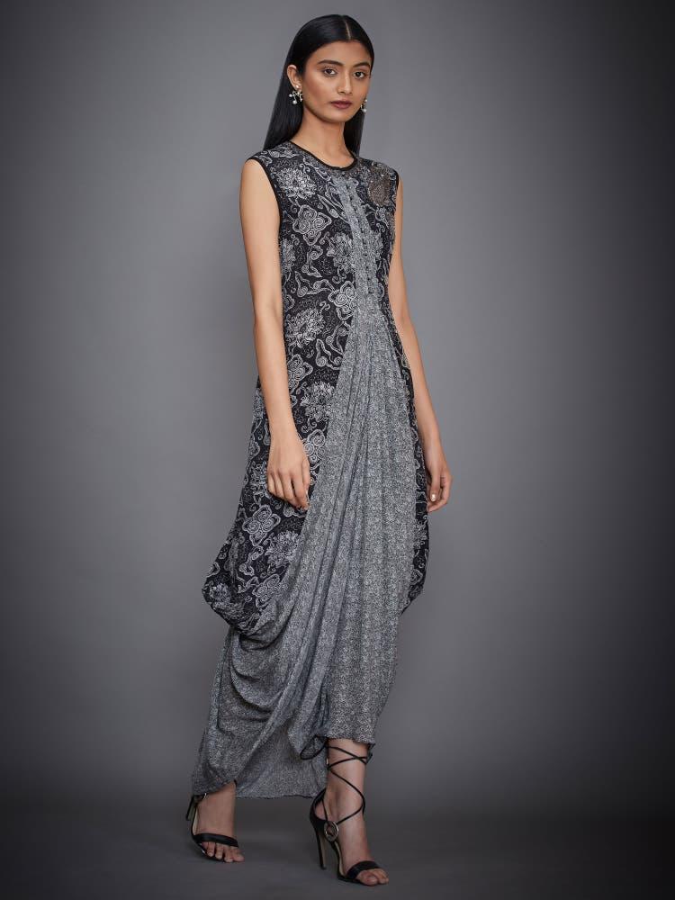 Black & Ecru Printed Cowl Dress