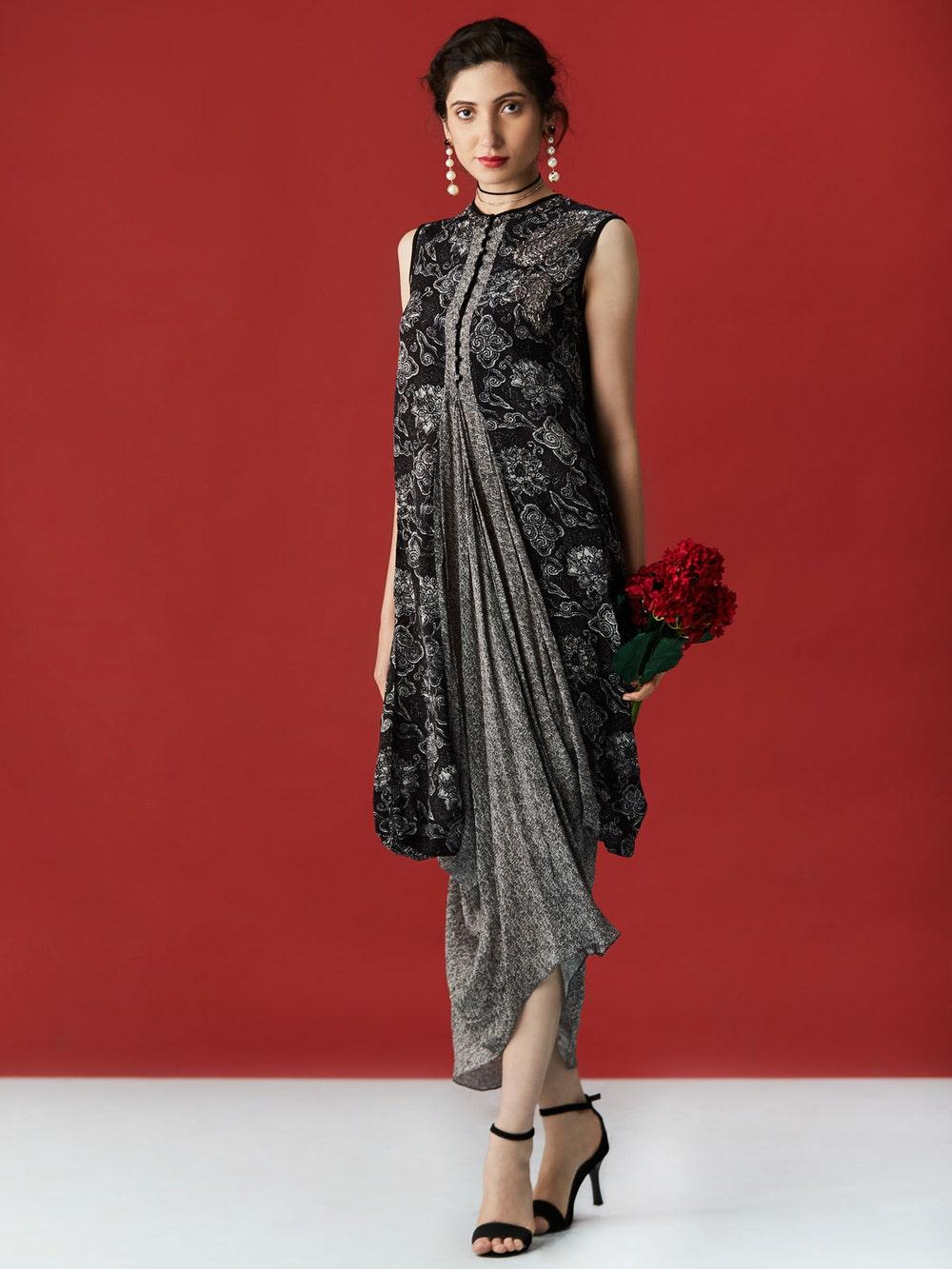 Black & Ecru Jami Printed Cowl Dress