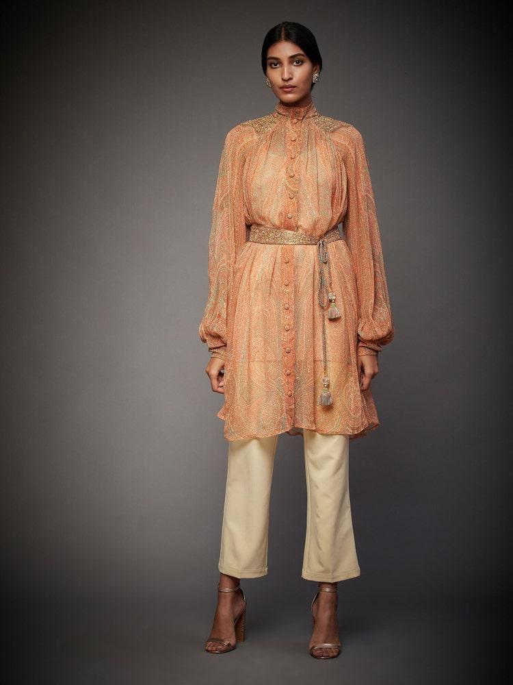 Pink & Sage Green Imran Coat Embroidered Kurti