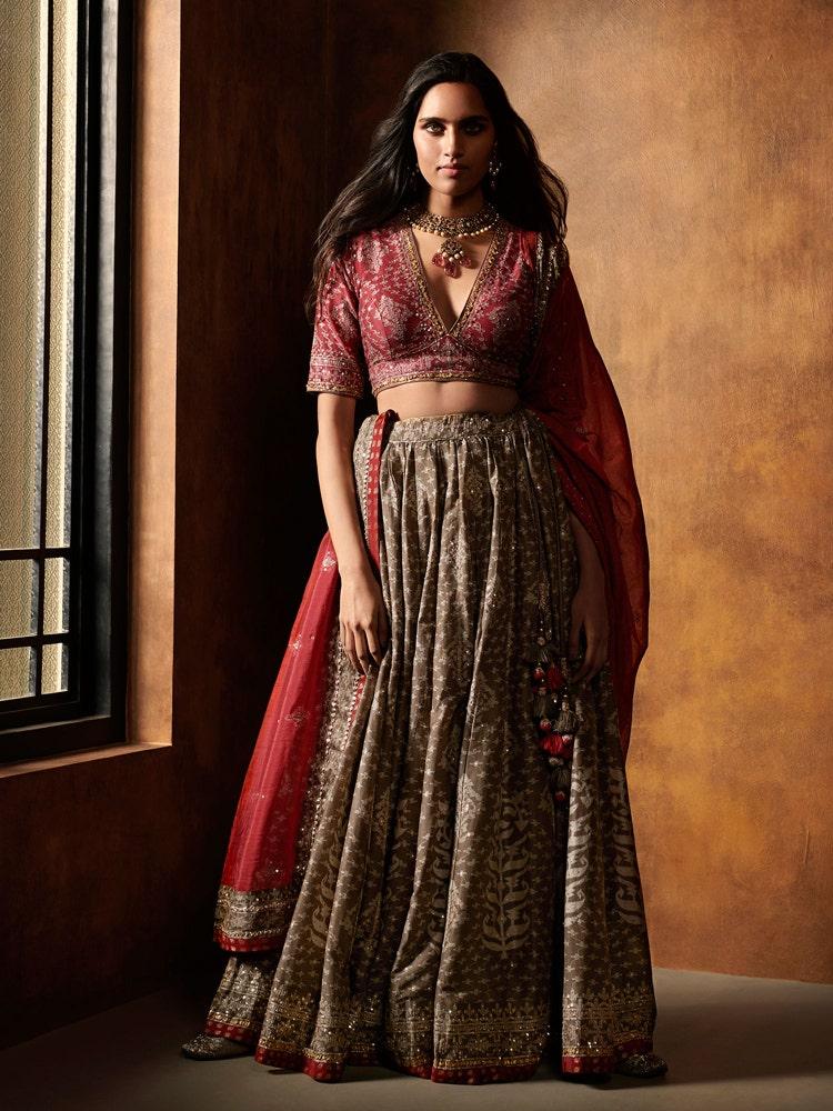 Brown & Burgundy Anjali Jamdani Lehenga Set