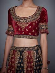 Divya Khosla in a Black & Burgundy Embroidered Lehenga Set