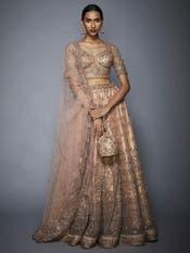 Sobhita Dhulipala in a Pastel Pink Floral Net Lehenga Set