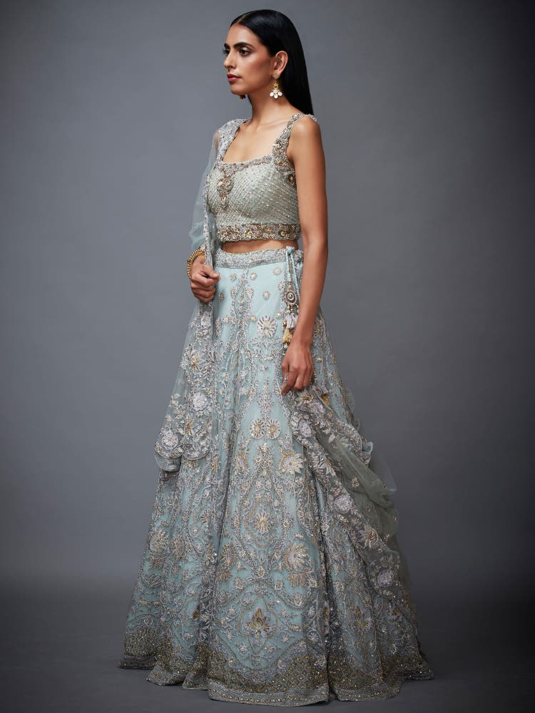 Powder Blue Net Lehenga Set