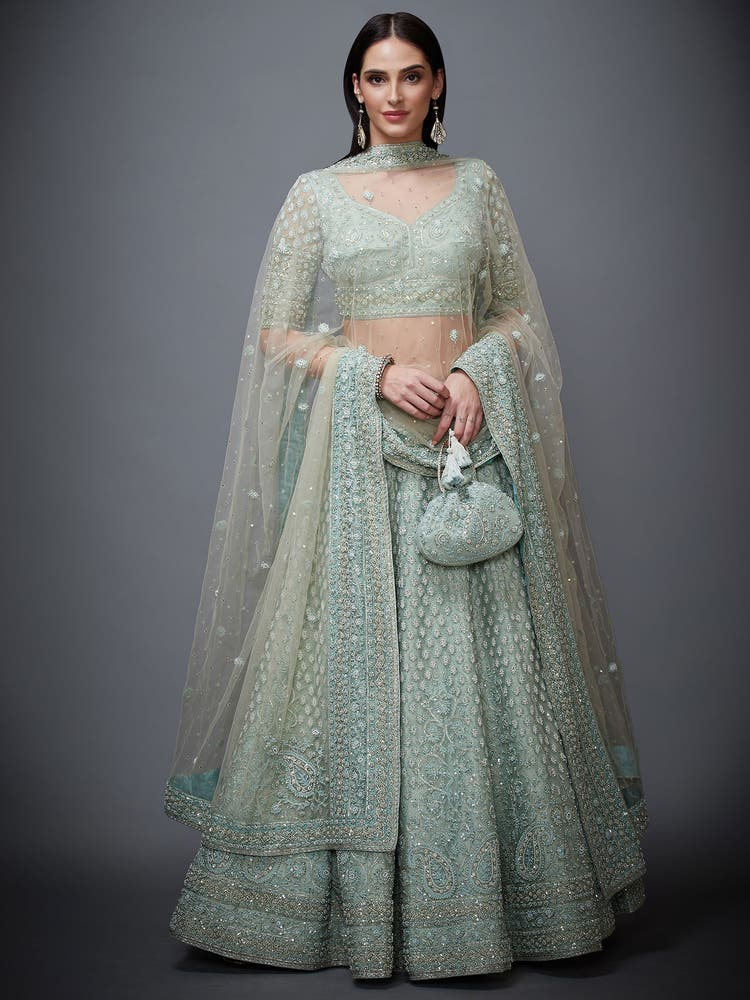 Aqua Pearl Embroidered Net Lehenga Set