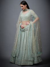Aqua Pearl Embroidered Net Lehenga Set