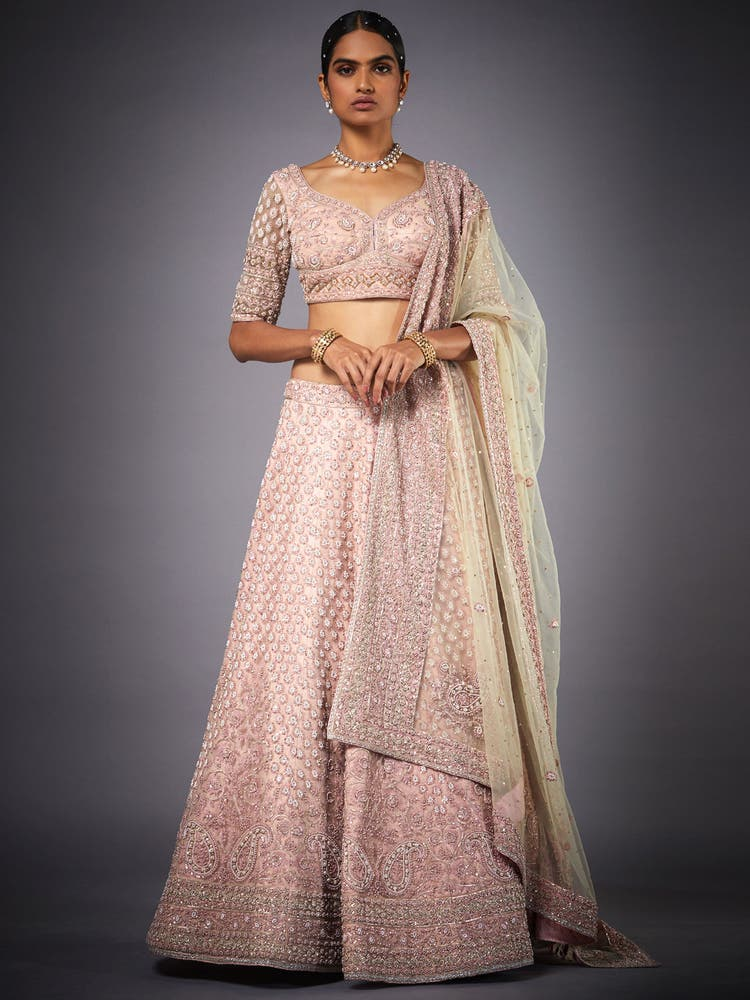 Pink Embroidered Pearl Net Lehenga Set
