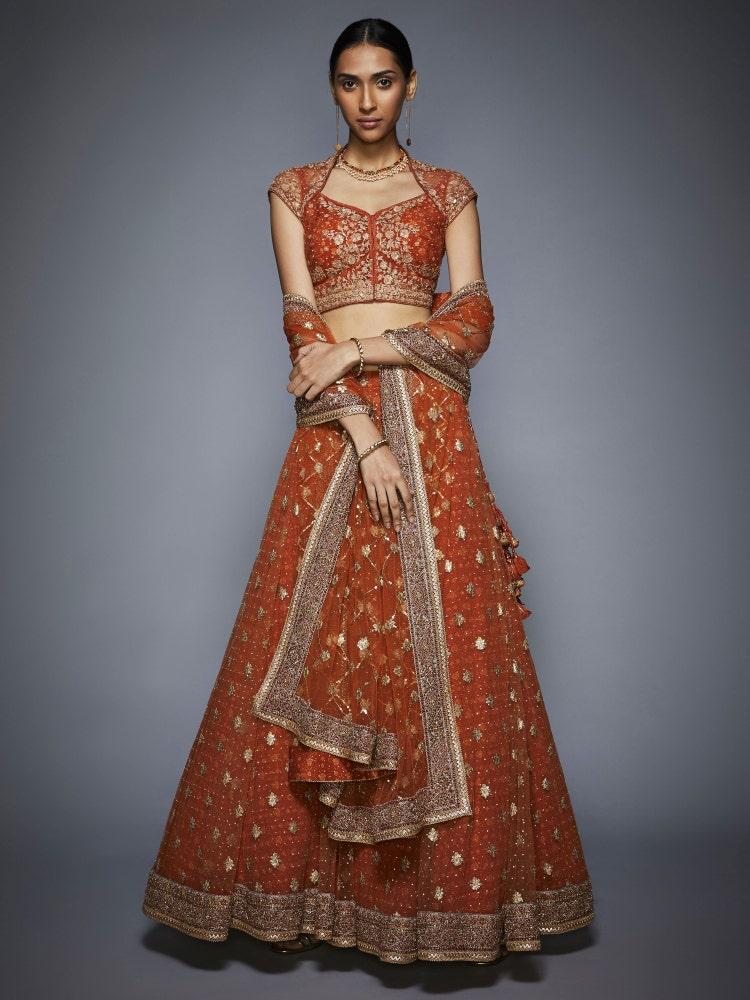 Rust & Gold Lara Bridal Lehenga Set