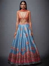 Peach & Turquoise Lasita Floral Lehenga Set