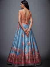 Peach & Turquoise Floral Lehenga Set
