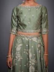 Olive Green Embroidered Lehenga Set