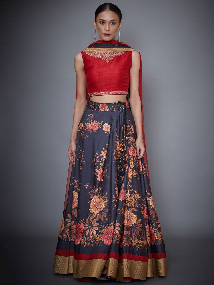 Red & Black Floral Print Lehenga Set