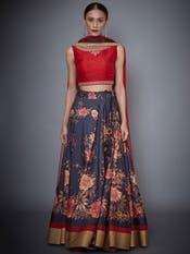 Red & Black Floral Print Lehenga Set