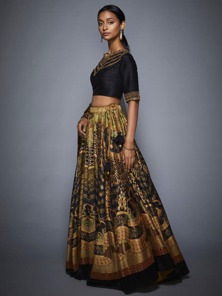 Black & Olive Green Zardozi Lehenga Set