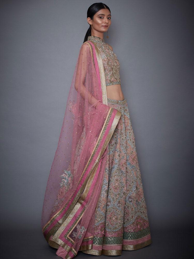 Off White & Pink Morina Zardozi Embroidered Lehenga Set